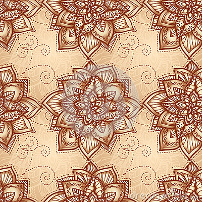 Vintage floral pattern with doodle flowers
