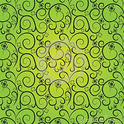 Vintage floral pattern on a green background