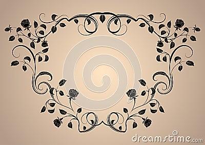 Vintage floral rose frame