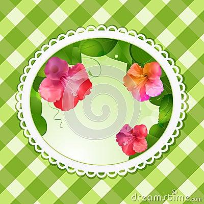 Vintage flower background oval