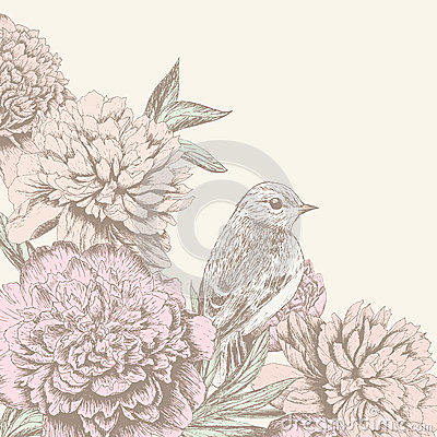 Free Vintage Flower Background With Bird Royalty Free Stock Photos - 34025938