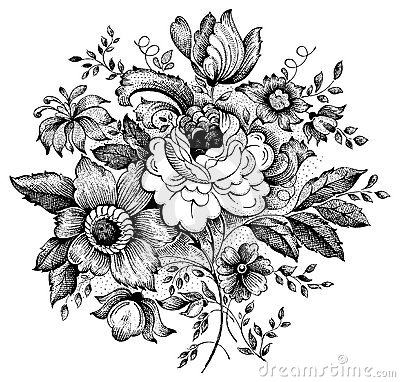 Free Vintage Flower Vector Illustration Royalty Free Stock Images - 12478709