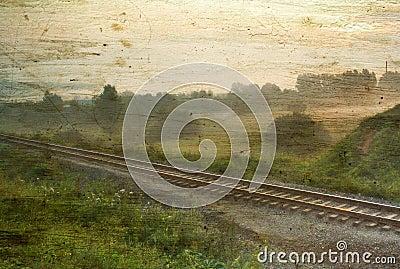 Vintage foggy landscape