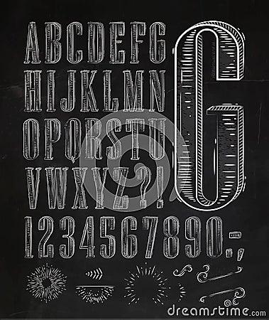 Vintage Font Letters Chalk Stock Vector - Image: 47019289