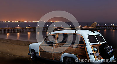 Vintage Ford Woodie at Night