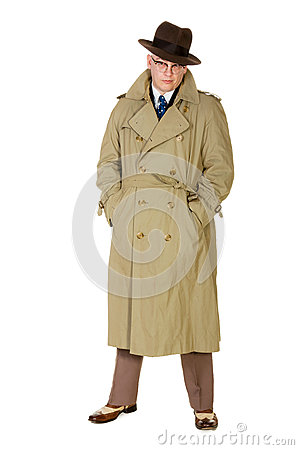 Vintage forties man in trenchcoat & trilby, isolated on white