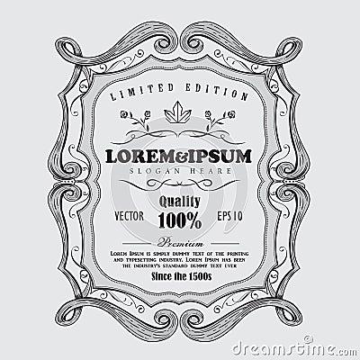 Free Vintage Frame Antique Label Hand Drawn Banner Design Vector Illu Stock Image - 116077781