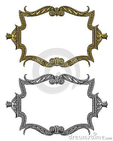 Vintage frame in engraved style
