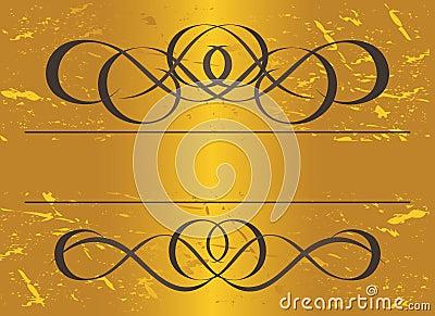 Vintage frame in gold. Symmetric inward. Vector Il