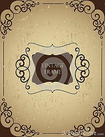 Vintage frame on grunge backgound.