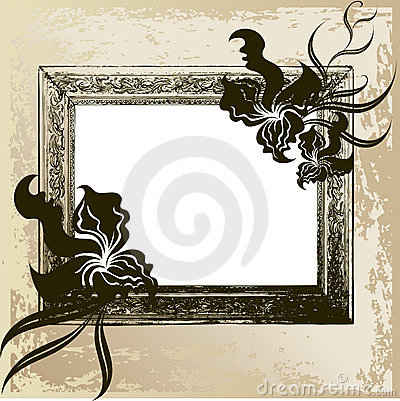 Vintage frame with orchid