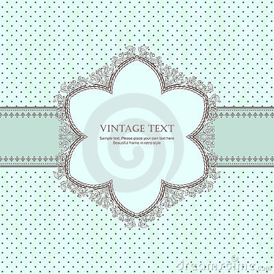 Vintage frame with shadow on polka-dot background