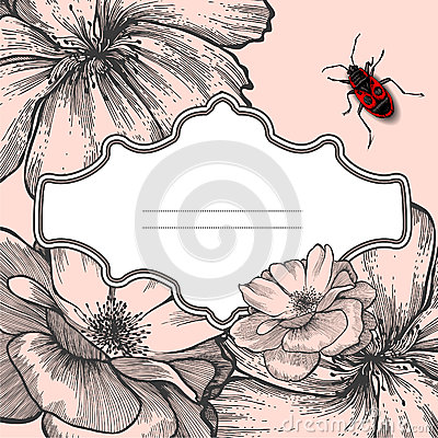 Free Vintage Frame With Blooming Roses And Beetle. Stock Photos - 26717013