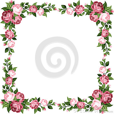 Free Vintage Frame With Pink Roses. Stock Image - 36033231