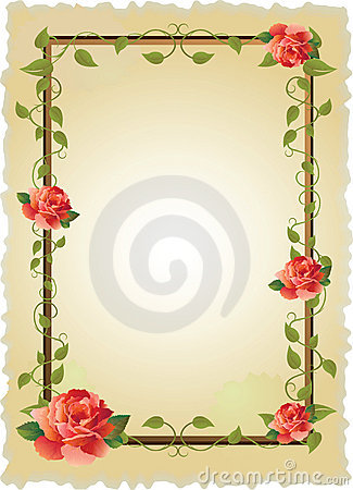 Free Vintage Frame With Roses Stock Image - 9775431