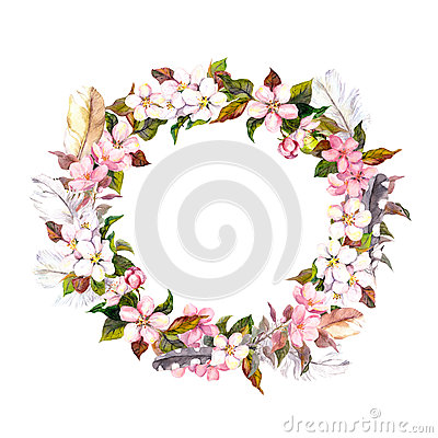Free Vintage Frame - Wreath In Boho Style. Feathers And Spring Flowers (cherry, Apple Flower Blossom). Watercolor Royalty Free Stock Photo - 63272325