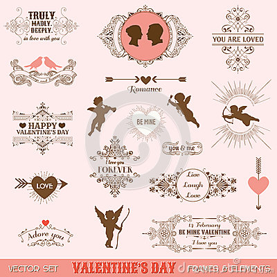 Free Vintage Frames And Banners Love Theme Stock Images - 47439244