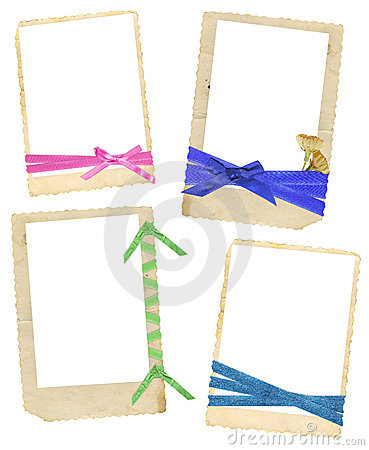 Vintage frames with ribbons