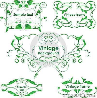Leaves frame - set. Vector design elements. Eco gr