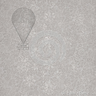 Vintage French floral with hot air balloon