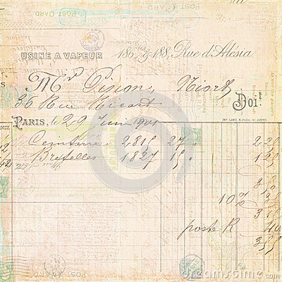 Free Vintage French Invoice Receipt Script Background Royalty Free Stock Image - 26515966