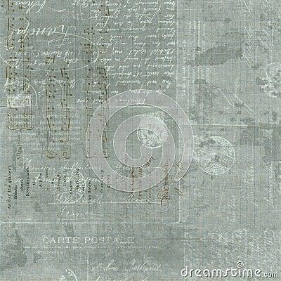 Vintage French Letter script collage background