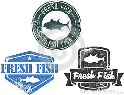 Vintage Fresh Fish Seafood Stamps