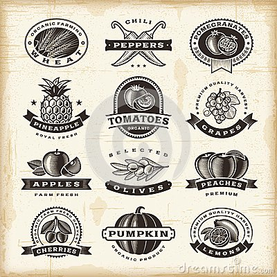 Free Vintage Fruits And Vegetables Labels Set Royalty Free Stock Photo - 46700985