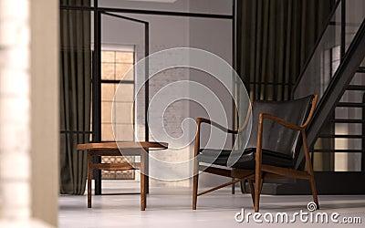 Vintage furniture in loft