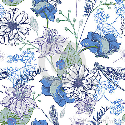 Free Vintage Garden Flowers Vector Seamless Pattern Stock Images - 69018894