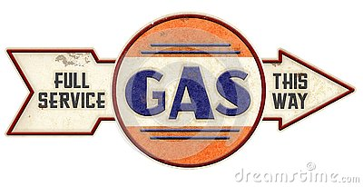 Old Gasoline Sign with Arrow Stock Photo