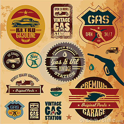 Free Vintage Gasoline Labels Stock Photography - 27550502
