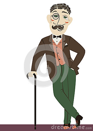 Vintage gentleman with cane.Vector man isolated on