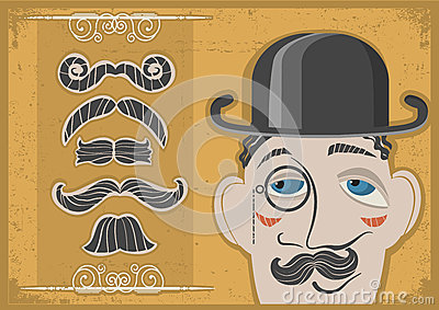 Vintage gentleman face in bowler hat and mustaches