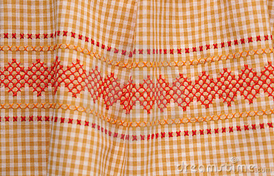 Vintage gingham fabric with trim