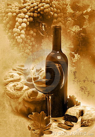 Free Vintage Glass And Bottle Wine Royalty Free Stock Photos - 12621378