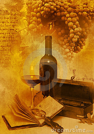 Free Vintage Glass And Bottle Wine Royalty Free Stock Photo - 12631355
