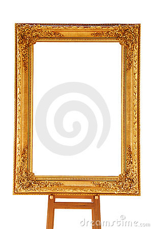 Vintage gold picture frame with wooden easel