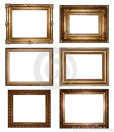 Free Vintage Gold Picture Frames Royalty Free Stock Photos - 21419348
