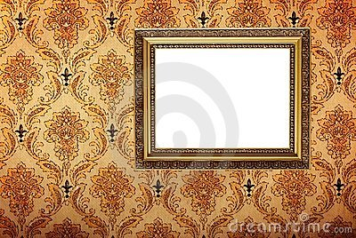 Vintage gold plated picture frame  on wall