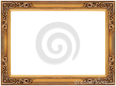Vintage gold wooden picture frame