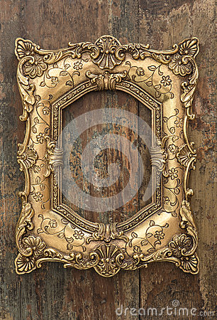 Free Vintage Golden Frame On Wooden Background. Grunge Texture Royalty Free Stock Image - 51413526