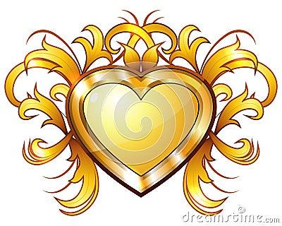 Vintage golden heart