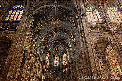 Vintage Gothic cathedral of Paris - retro style