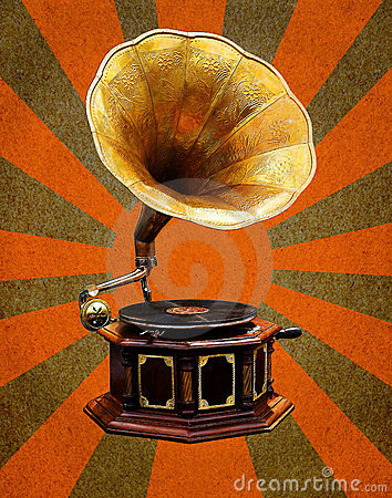 Vintage Gramophone  abstract sun rays