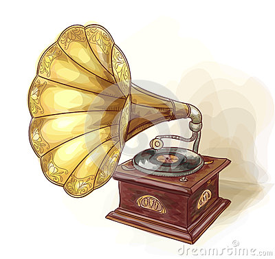 Vintage Gramophone. Wtercolor imitation.