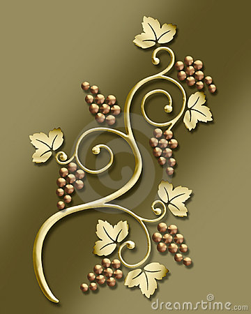 vintage grape vine motif