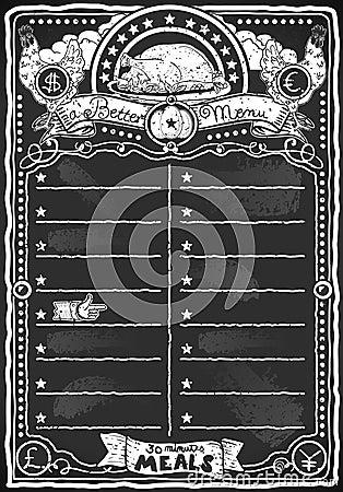 Vintage Graphic Blackboard for Chicken Menu