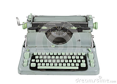 Vintage Green 1960 s Typewriter Isolated