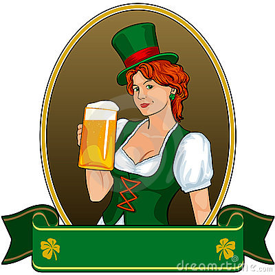 Vintage green dressed St.Patricks girl with beer